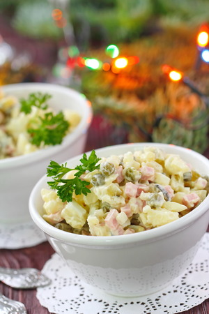 National cuisine. Russian traditional salad Olivier for New Year party.