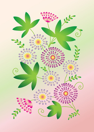 daisy pink: Spring card with daisy flowers on pink floral background Illustration