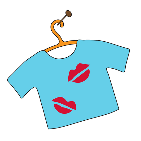 Blue t-shirt with spots of lipstick