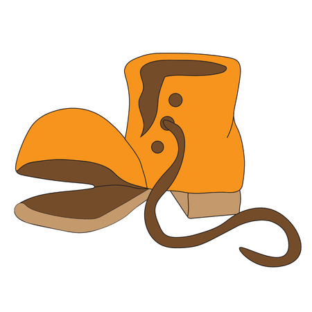 Old torn boot isolated on white background Illustration