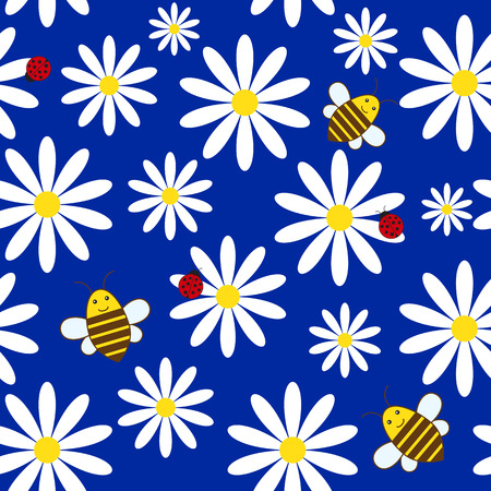 Simple summer seamless background with ladybirds, bees and daisies