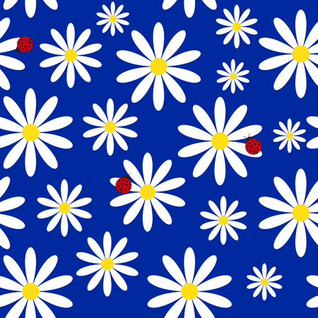 Simple summer seamless background with ladybirds and daisies Illustration