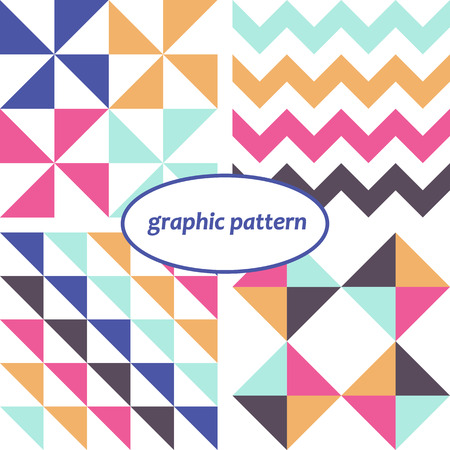 Set of four simple seamless graphic patterns with various colors