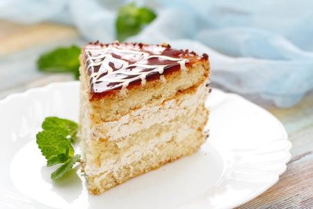 jam tarts: Piece of cake with cream and caramel Stock Photo
