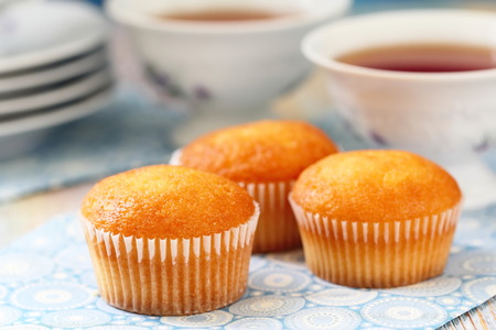 teaparty: Teaparty, Sweet muffins and tea Stock Photo