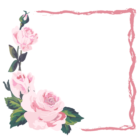 Pink roses frame of vintage style with place for text