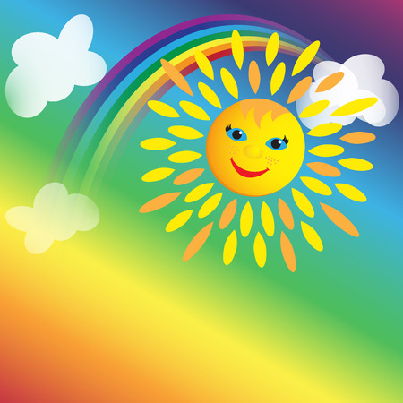 Background with Sun, rainbow and clouds with place for text Illustration