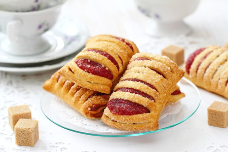 strudel: Homemade sweet pastries with raspberries