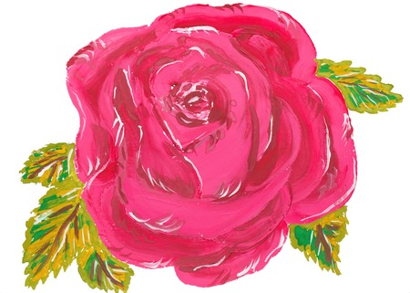 Single watercolor pink rose on white background
