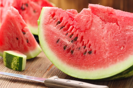 Slices of watermelon on the table in summertime
