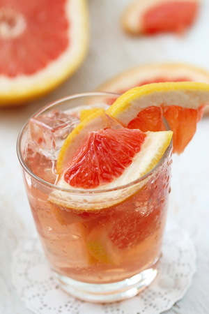 Refreshing drink, grapefruit cocktail. Detox coctail with fresh fruit