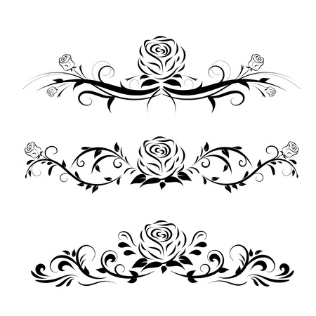 Set of three rose ornaments with black and white color. Set of black and white compositions with rose flowers and leaves. Simple ornaments with rose floral style. Vetores