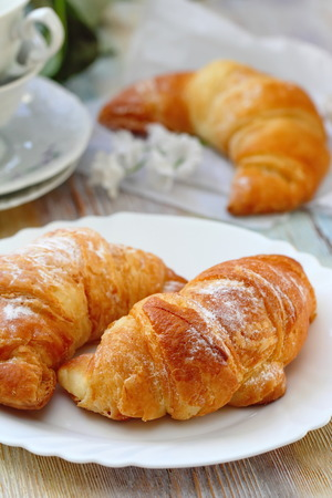 Fresh croissants for breakfast on the table. Continental breakfast