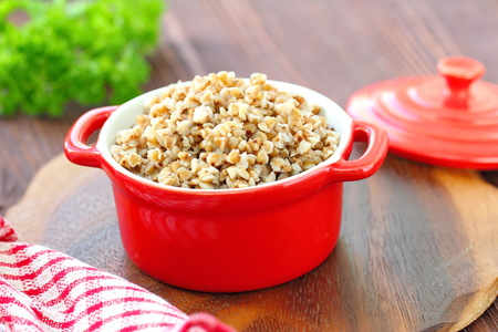Buckwheat porridge in a pan. Healthy food