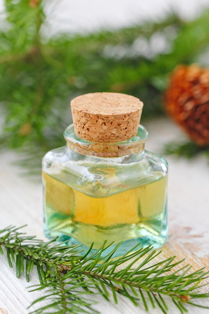 Essential aroma oil witn fir branches and needle smell
