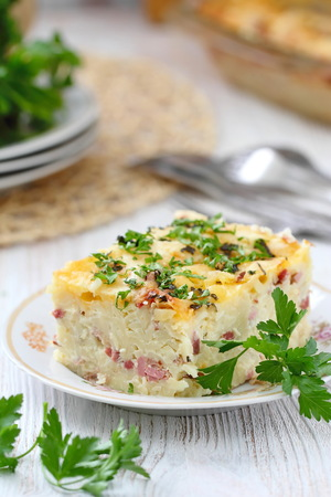 Delicious pasta gratin. Homemade pasta baked with ham and cheese Stock fotó