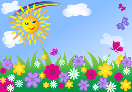 Summer meadow background. Meadow with flowers and butterflies at a summer day. Stock Illustratie