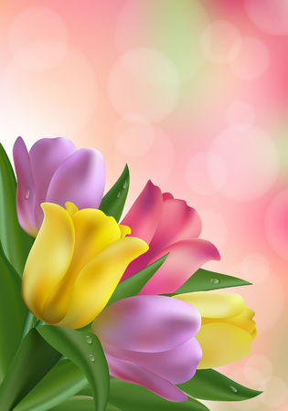 Floral beautiful background with tulips and place for text Illustration