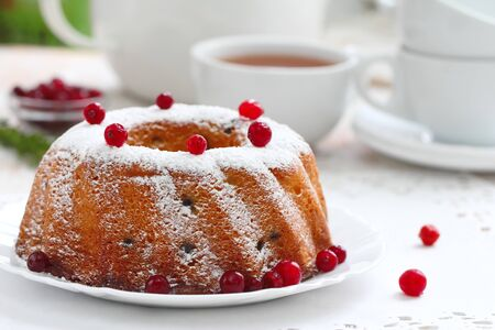 Homemade fruit cake with cranberries and dry fruit. Delicious food.