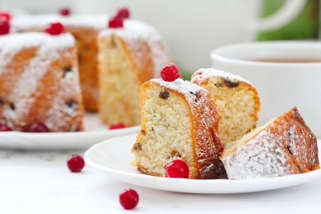 Homemade fruit cake with cranberries and dry fruit