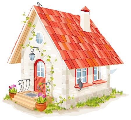 la pequeña casa de hadas con un techo de teja Ilustración de vector