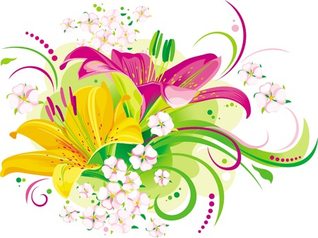 Twee beauful lelies met kleine roze bloemen Stock Illustratie
