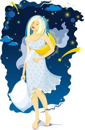 nightgown: Sleeping girl on a moonlit night