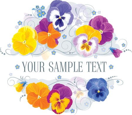 Pansy and forget-me in a romantic flower arrangement Stock Vector - 9852917