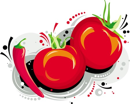 Two red tomatoes and one red pepper Illustration