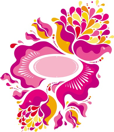 Pink floral ornament in old russian style Stock Vector - 9852909