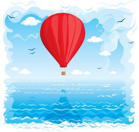 Rode ballon vliegt onder de zee Stock Illustratie