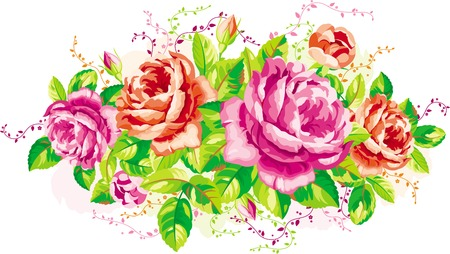 Vintage arrangement of pink and red roses Illustration