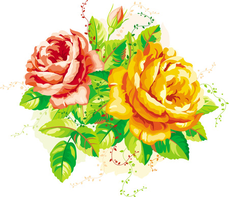Vintage arrangement of yellow and red roses Stock Vector - 9852926