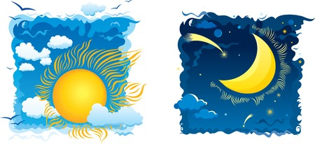 morning noon and night: Sunny day and moonlit night with sky and clouds Illustration