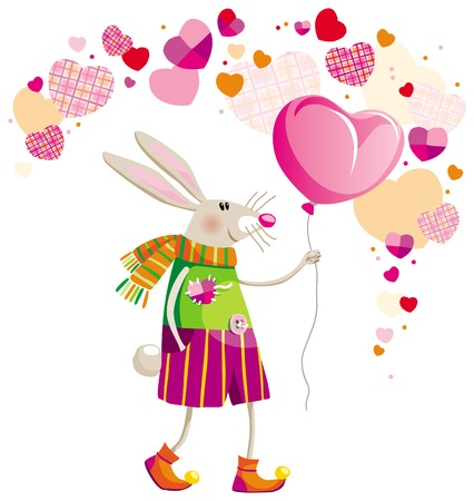 Hare with the balloon in his hand on Valentines Day
