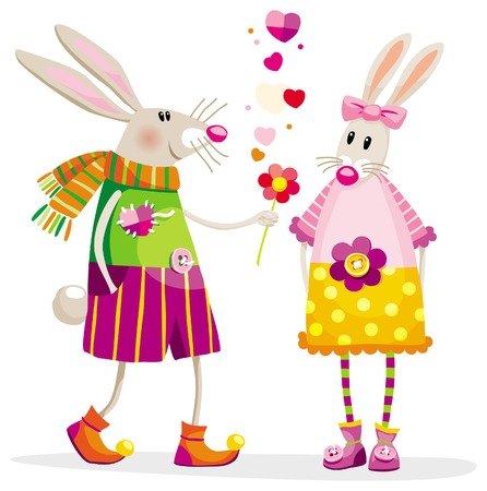 Touching bunnies in a romantic situation with a flower Stock Vector - 9852929