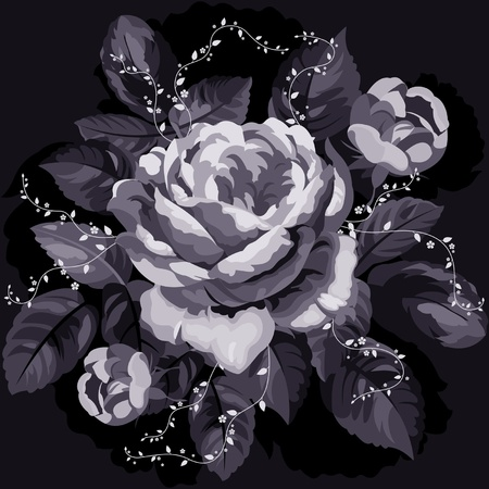 Vintage monochrome rose with leaves on black background