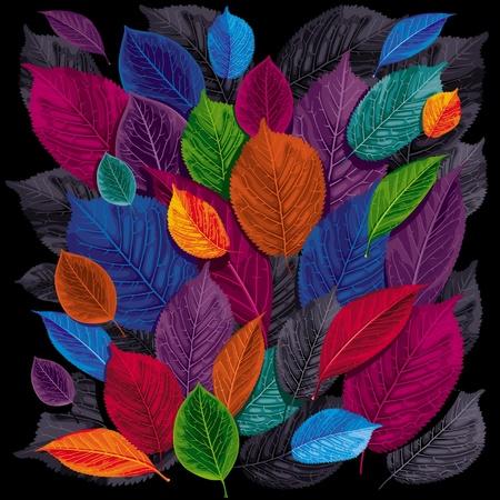 Hojas de otoño oscuro sobre fondo negro