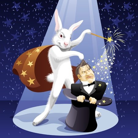 White Rabbit-illusionist pulls out a magician from a hat