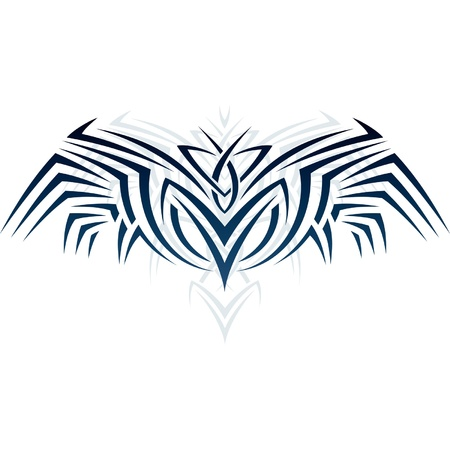 Abstract ornament in the form of wings in the style of tattoos