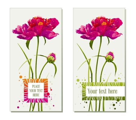 Floral greeting cards with red peony flower and bud
