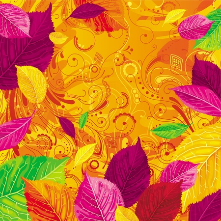 variegated: Brightly colored autumn leaves on the gold floral background