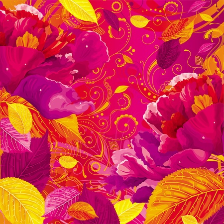 Brightly colored autumn leaves and red peony on the floral background