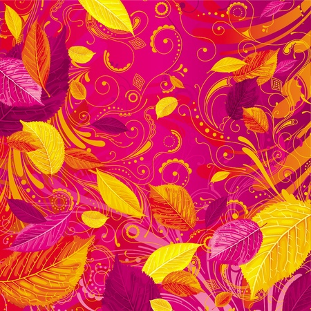 Brightly colored autumn leaves on the red floral background