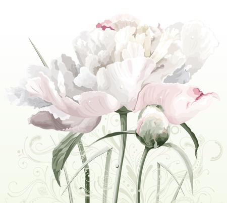 Luxurious white peony flower painted in pastel colors with bud and floral pattern