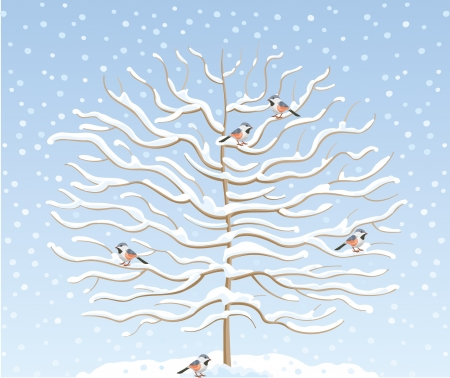 Winter tree in the snow with birds on branches