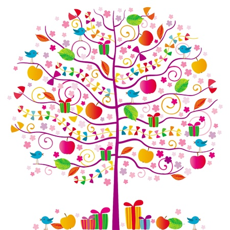 The magic tree with birds, red apples, ribbons and gifts