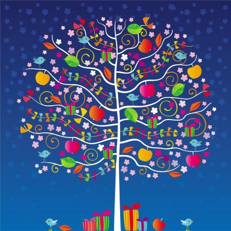 De magie boom met vogels, rode appels, linten en geschenken in de nacht Stock Illustratie