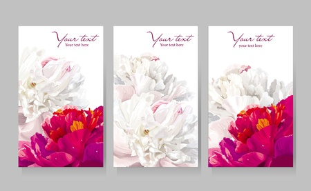 Floral greeting cards with red and white peony flowers Illustration