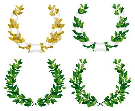 Set van de laurier en eiken kransen met groene bladeren en brons